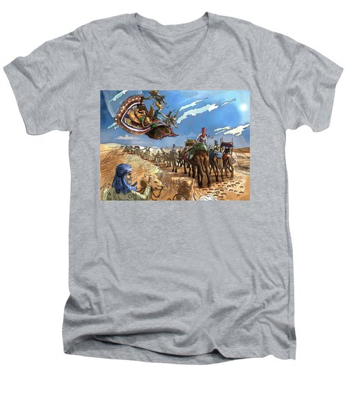 Men's V-Neck T-Shirt featuring the painting Tammy And The Flying Carpet by Reynold Jay