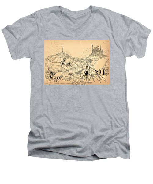 Men's V-Neck T-Shirt featuring the drawing Flight Over Capira by Reynold Jay