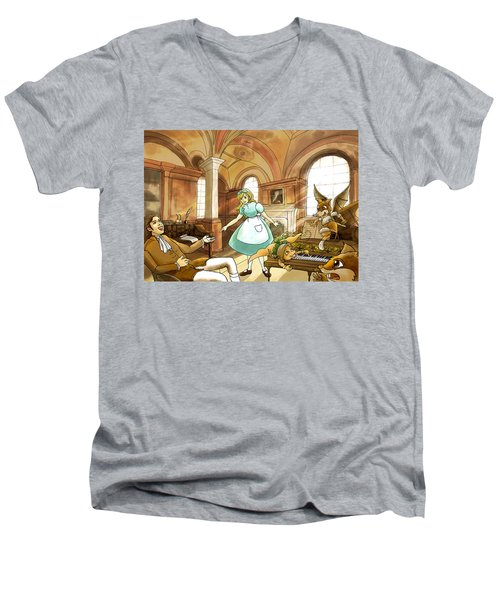 Men's V-Neck T-Shirt featuring the painting Tammy Meets Mr. Scott by Reynold Jay
