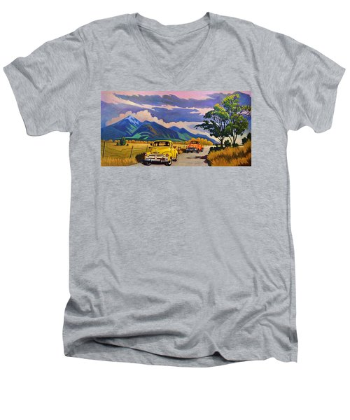 Men's V-Neck T-Shirt featuring the painting Taos Joy Ride With Yellow And Orange Trucks by Art West