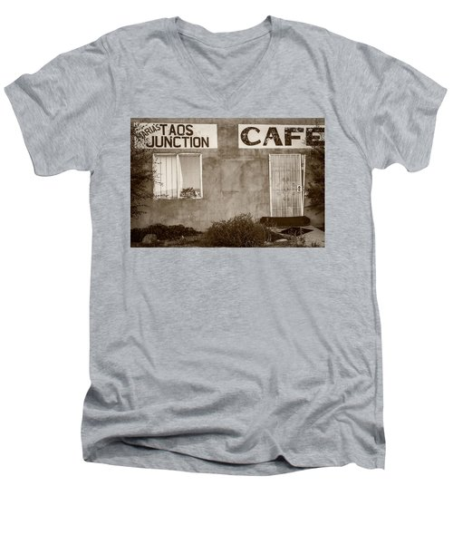 Taos Junction Cafe Men's V-Neck T-Shirt by Steven Bateson