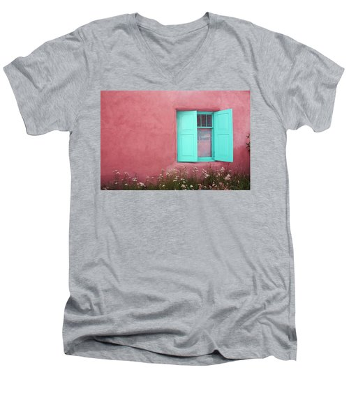 Men's V-Neck T-Shirt featuring the photograph Taos Window I by Lanita Williams