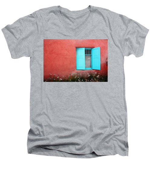 Men's V-Neck T-Shirt featuring the photograph Taos Window Iv by Lanita Williams