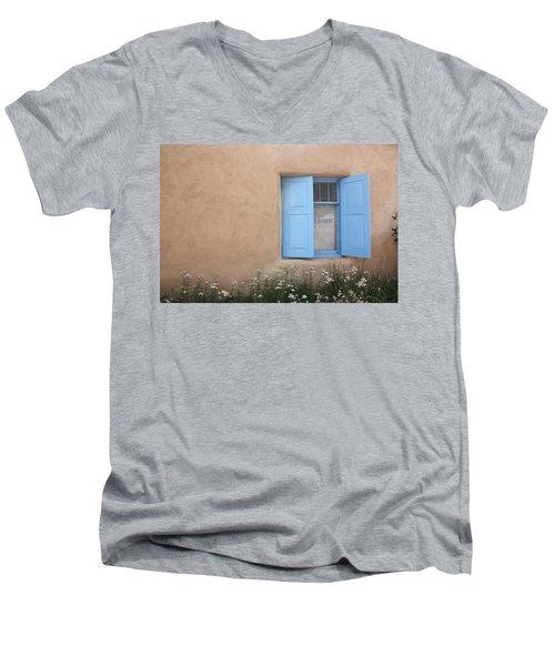 Men's V-Neck T-Shirt featuring the photograph Taos Window Vi by Lanita Williams