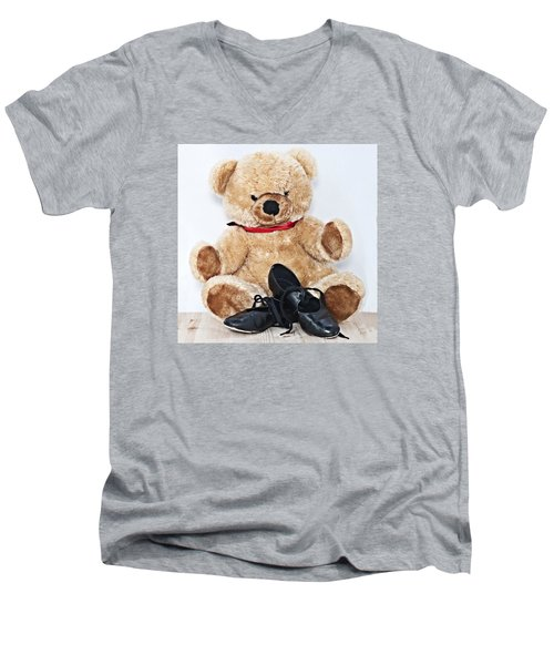 Tap Dance Shoes And Teddy Bear Dance Academy Mascot Men's V-Neck T-Shirt by Pedro Cardona