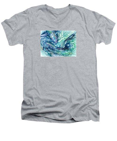 Tarpon Frenzy Men's V-Neck T-Shirt by Ashley Kujan
