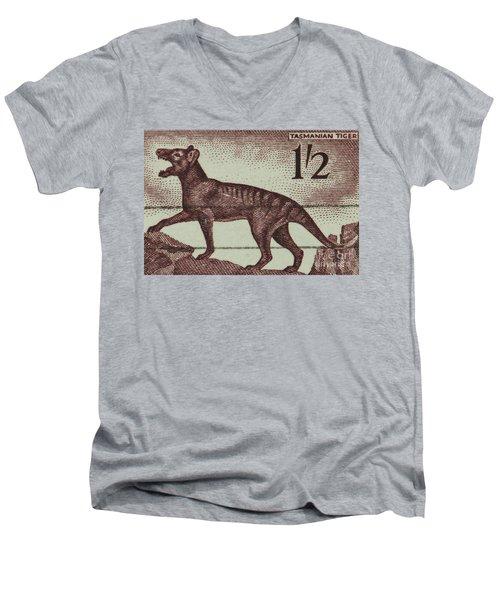 Tasmanian Tiger Vintage Postage Stamp Men's V-Neck T-Shirt by Andy Prendy