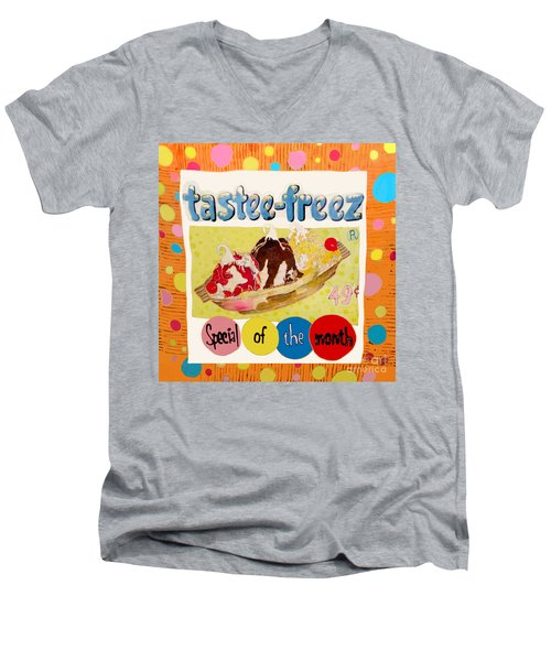 Tastee Freez Men's V-Neck T-Shirt by Beth Saffer