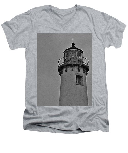 Men's V-Neck T-Shirt featuring the photograph Tawas Point In The Rain by Daniel Thompson