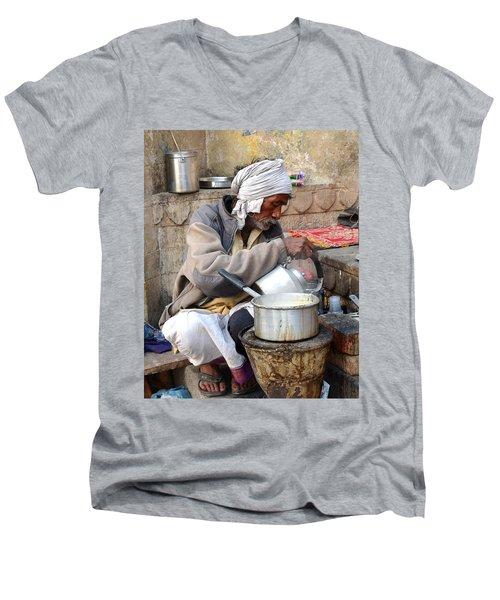 Tea Stall On The Ghats  - Varanasi India Men's V-Neck T-Shirt