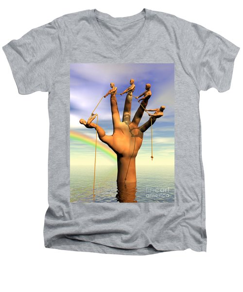 The Hand Is The Sum Of Its Fingers Men's V-Neck T-Shirt