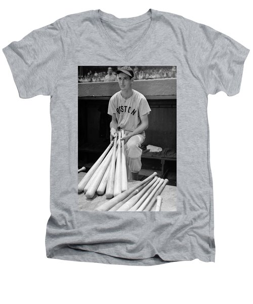 Ted Williams Men's V-Neck T-Shirt by Gianfranco Weiss
