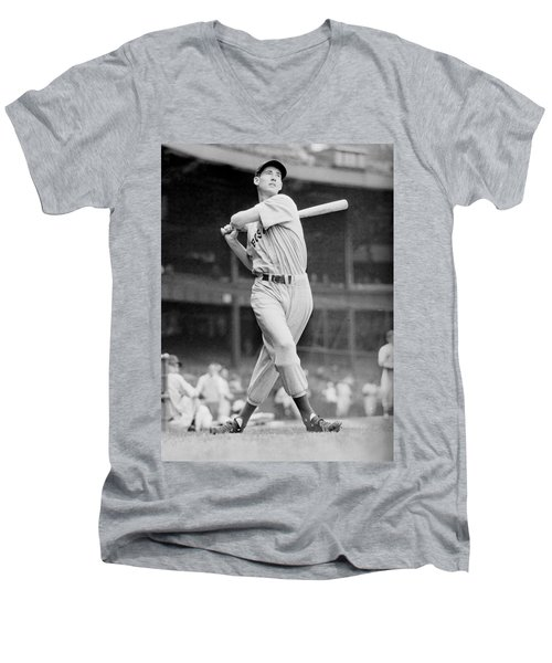 Ted Williams Swing Men's V-Neck T-Shirt by Gianfranco Weiss
