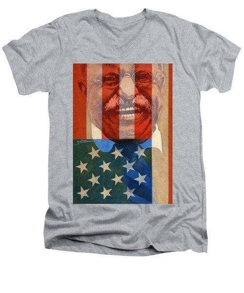Teddy Roosevelt Men's V-Neck T-Shirt by John D Benson