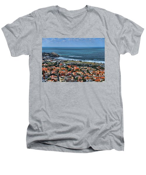Men's V-Neck T-Shirt featuring the photograph Tel Aviv Spring Time by Ron Shoshani