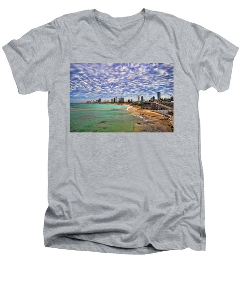 Tel Aviv Turquoise Sea At Springtime Men's V-Neck T-Shirt