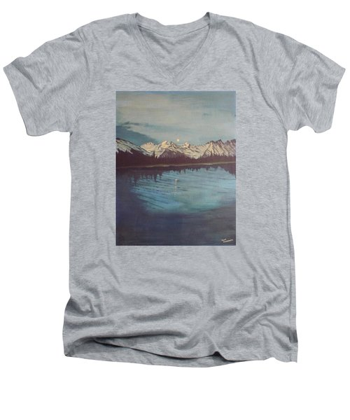 Men's V-Neck T-Shirt featuring the painting Telequana Lk Ak by Terry Frederick