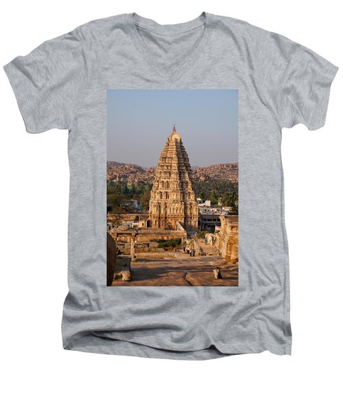 Temple At Hampi Men's V-Neck T-Shirt