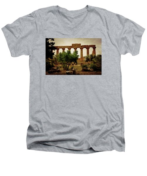 Temple Of Juno Lacinia In Agrigento Men's V-Neck T-Shirt