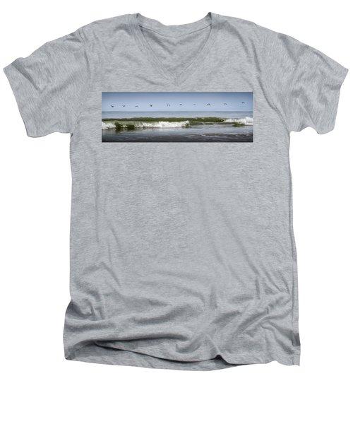 Men's V-Neck T-Shirt featuring the photograph Ten Pelicans by Steven Sparks