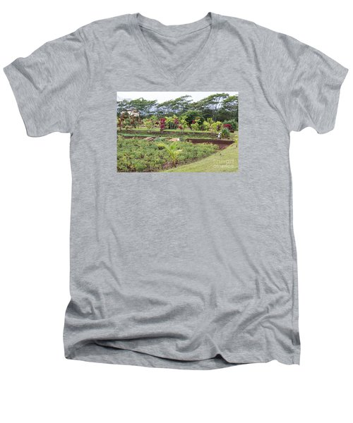 Men's V-Neck T-Shirt featuring the photograph Tending The Land by Suzanne Luft
