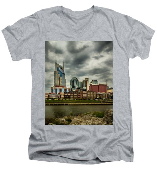 Tennessee - Nashville From Across The Cumberland River Men's V-Neck T-Shirt