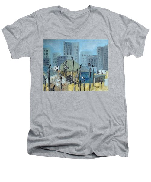 Men's V-Neck T-Shirt featuring the painting Tent City Homeless by Judith Rhue