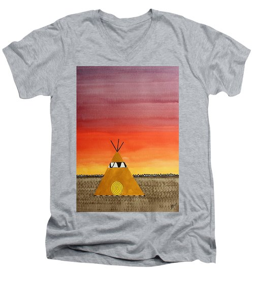 Tepee Or Not Tepee Original Painting Men's V-Neck T-Shirt