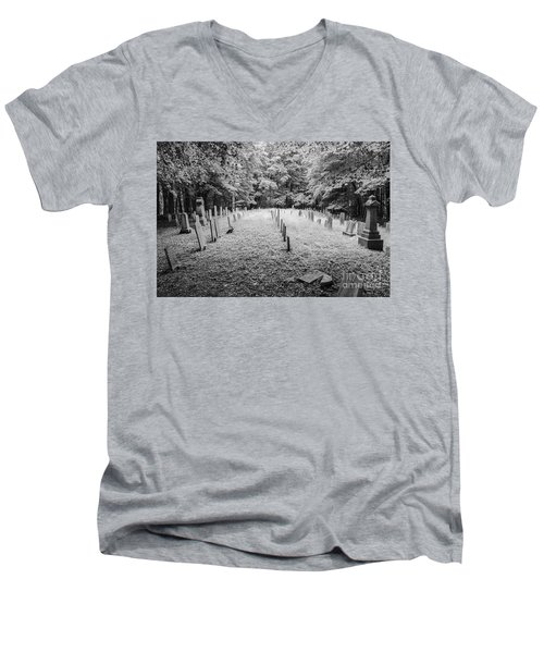 Terpenning Cemetery B And W Men's V-Neck T-Shirt