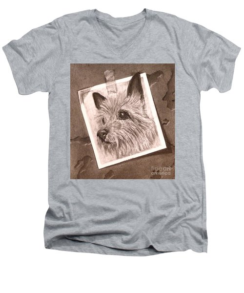 Terrier As Optical Illusion Men's V-Neck T-Shirt