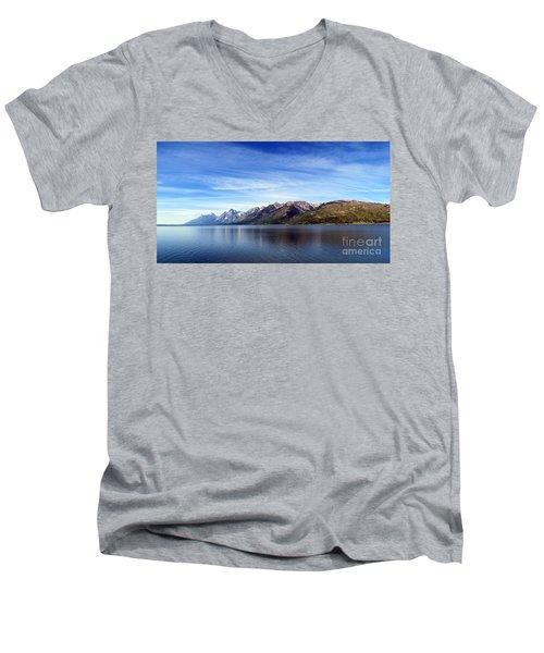 Tetons By The Lake Men's V-Neck T-Shirt by Ausra Huntington nee Paulauskaite