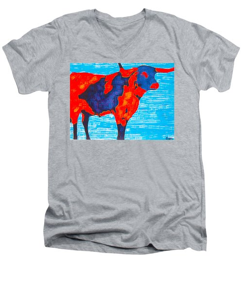 Texan Longhorn Men's V-Neck T-Shirt