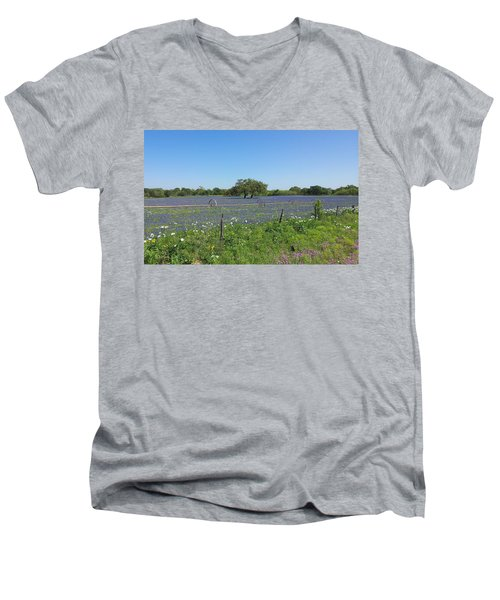 Texas Blue Bonnets Men's V-Neck T-Shirt