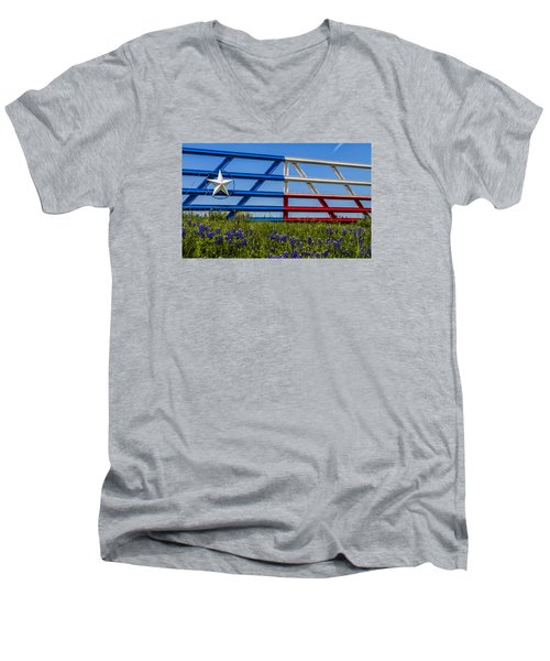 Texas Flag Painted Gate With Blue Bonnets Men's V-Neck T-Shirt