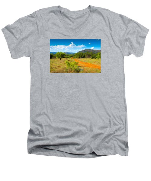 Texas Hill Country Red Dirt Road Men's V-Neck T-Shirt by Darryl Dalton