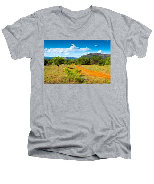 Texas Hill Country Red Dirt Road Men's V-Neck T-Shirt