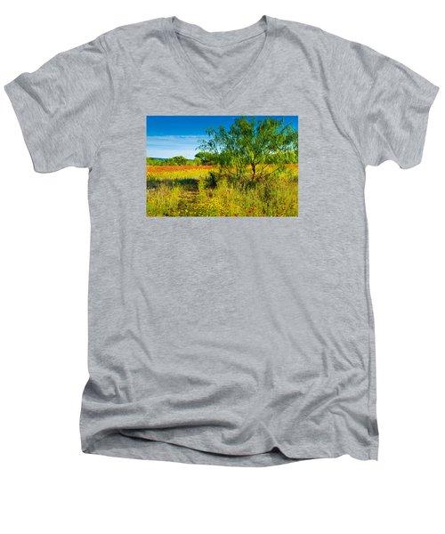 Texas Hill Country Wildflowers Men's V-Neck T-Shirt by Darryl Dalton