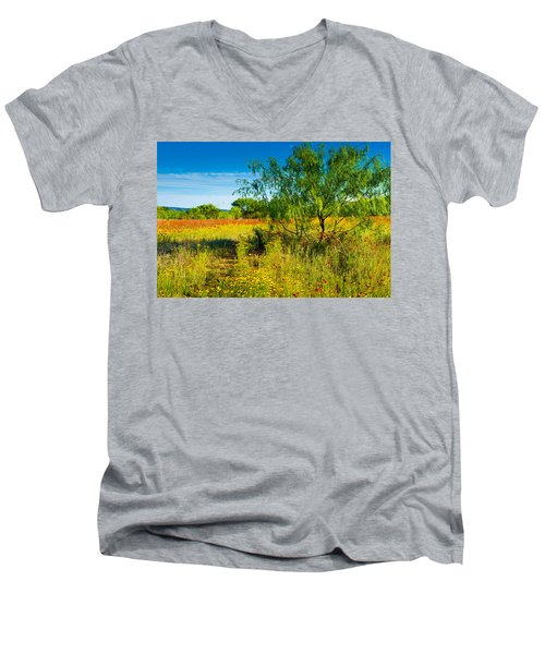 Texas Hill Country Wildflowers Men's V-Neck T-Shirt