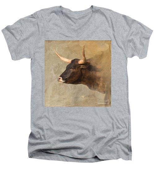 Texas Longhorn # 3 Men's V-Neck T-Shirt