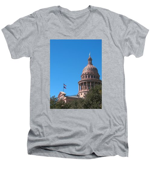 Texas State Capitol With Pediment Men's V-Neck T-Shirt by Connie Fox