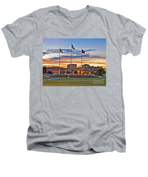 Men's V-Neck T-Shirt featuring the photograph Memorial Circle At Sunset by Mae Wertz