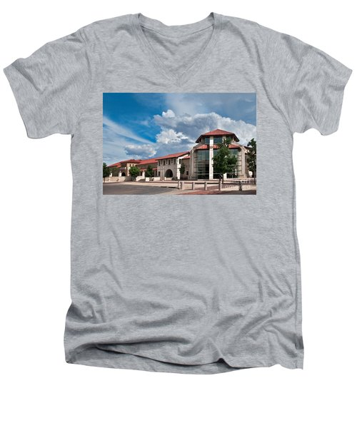 Men's V-Neck T-Shirt featuring the photograph Texas Tech Student Union by Mae Wertz