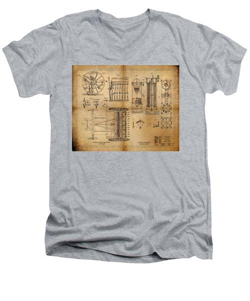 Men's V-Neck T-Shirt featuring the painting Textile Machine by James Christopher Hill