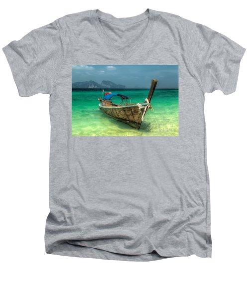 Thai Boat  Men's V-Neck T-Shirt by Adrian Evans