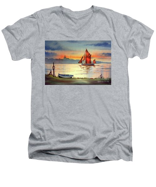 Thames Barge At Maldon Essex Men's V-Neck T-Shirt