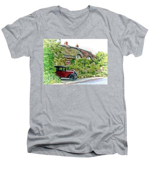 Thatched Cottages At Reybridge Men's V-Neck T-Shirt