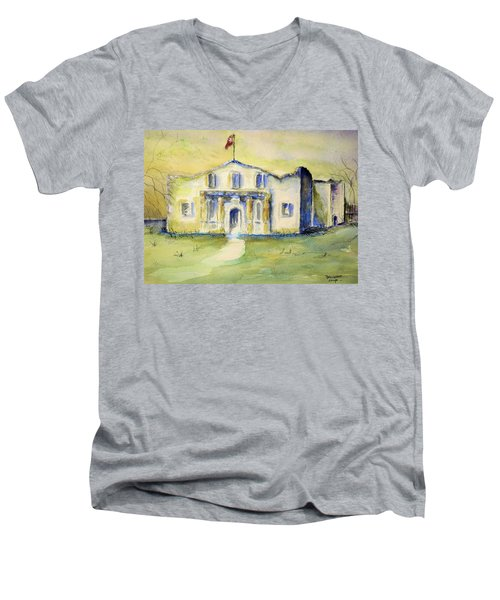 The Alamo  Men's V-Neck T-Shirt by Bernadette Krupa