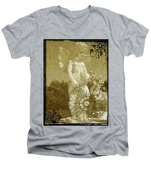 Men's V-Neck T-Shirt featuring the digital art The Angel - Art Nouveau by Absinthe Art By Michelle LeAnn Scott
