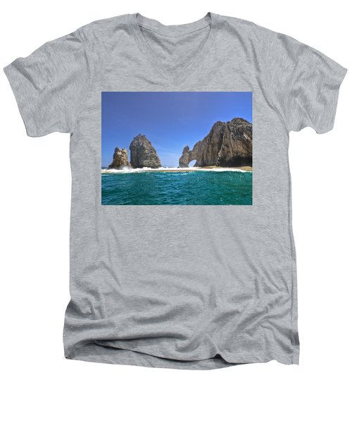 Men's V-Neck T-Shirt featuring the photograph The Arch  Cabo San Lucas On A Low Tide by Eti Reid