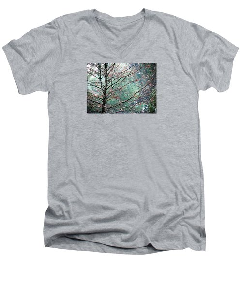 Men's V-Neck T-Shirt featuring the photograph The Aura Of Trees by Angela Davies